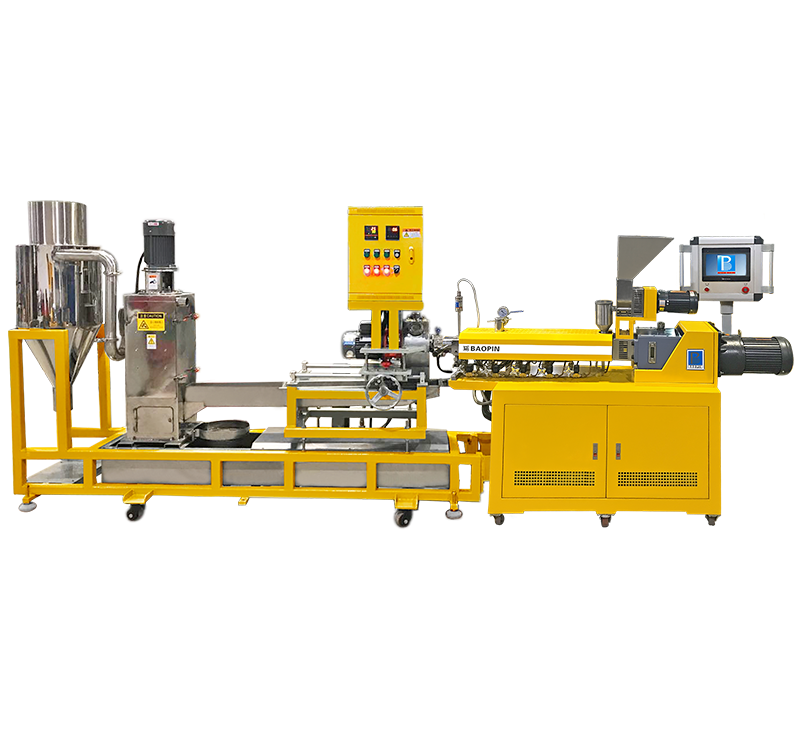 LAB TWIN SCREW EXTRUSION HOT CUTTING GRANULATION MACHINE/ PLC CONTROL